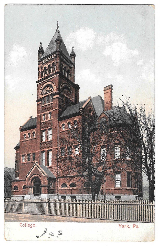 York Pa College Collegiate Institute Vintage Udb Postcard