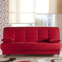 Vegas Futon Sectional Sofa Bed Queen Sleeper With Storage Custom Nyc Red Microfiber