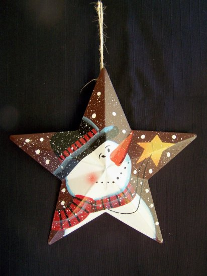 Primitive Christmas Star Snowman Tree Ornament Country