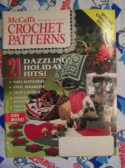 McCalls Crochet Christmas Patterns Magazine 1993 Poinsettia Skirt Snowflake Victorian Ornaments