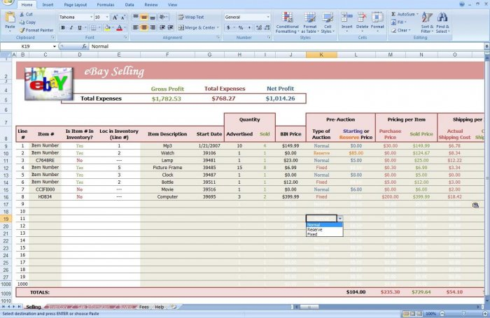 Ebay Auction Excel Spreadsheet Know Inventory Amp Profit