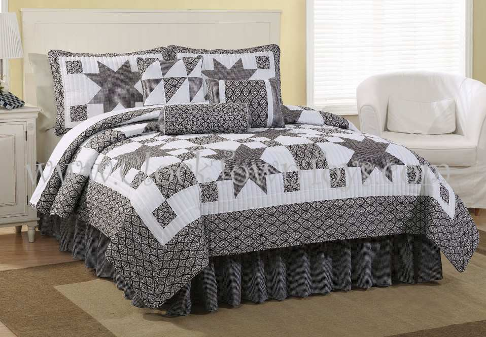 7PC Black & White Western Star KING Comforter Set CQS7758BW7K