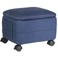 Denim Ottoman with wheels