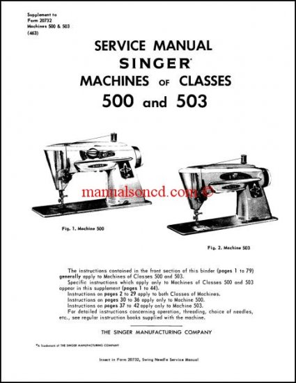 Singer 500 and 503 Service And Repair Manual