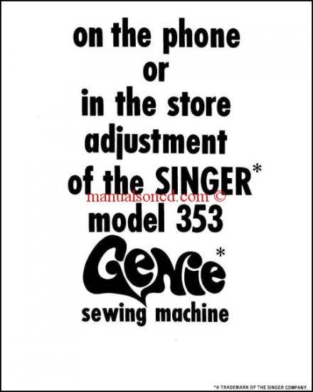 Singer 353 Genie Sewing Machine Adjustment Manual