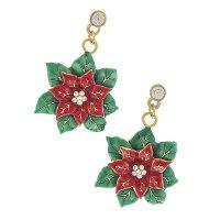 Christmas Jewelry Crystal Rhinestone Poinsettia Charm ...