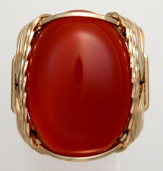 Carnelian Stone Ring Orange 14k gf Mens Ladies Gemstone