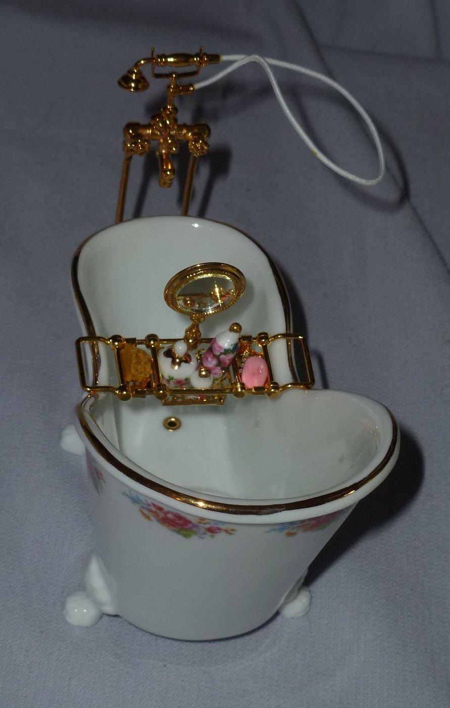 Reutter Porcelain Miniature Dollhouse Bathtub with Shower Spray and Tub Rack