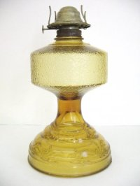 PA Risdon Danbury CT Eagle Oil Lamp Yellow Amber Glass