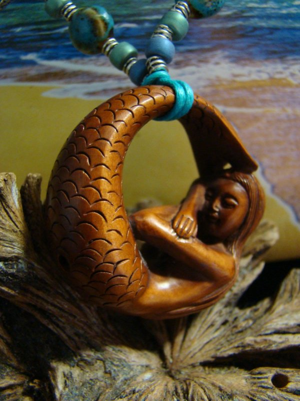 Hand Carved Wood Mermaid