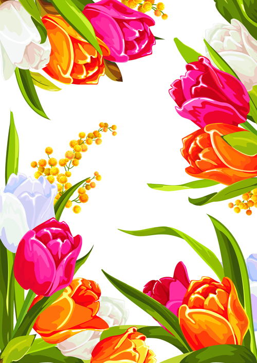 Colored beautiful flowers design graphics free  Free download