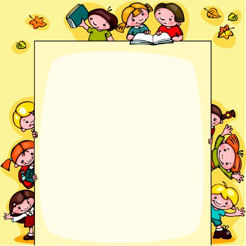 Cartoon School Children Cute Design Vector 01 Free Free