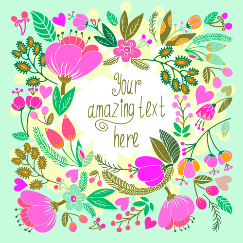 Beautiful Floral Pattern Greeting Cards Vector Graphics 02
