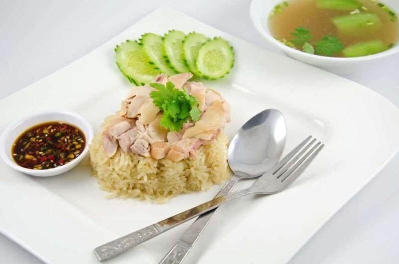 Курица с рисом Hainanese (Сингапур) блюдо, еда, туризм