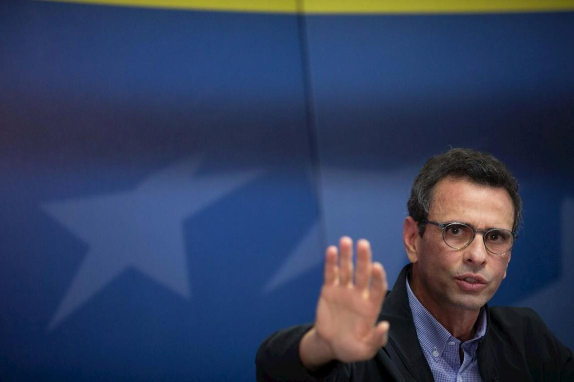 Venezuelan opponent Henrique Capriles speaks at a press conference today in Caracas, Venezuela.