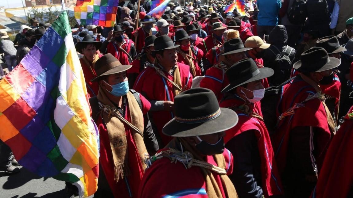 File-Supporters of former Bolivian President Evo Morales participate in a demonstration calling for the resignation of the interim president, Jeanine Añez, in El Alto, Bolivia, on August 14, 2020.