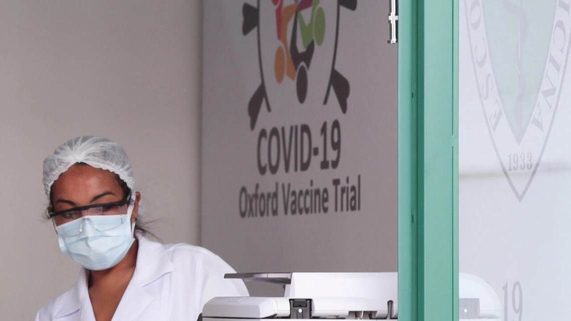 An employee is seen at the Federal University of Sao Paulo (Unifesp) where the trials of the Oxford/AstraZeneca coronavirus vaccine are conducted, in Sao Paulo, Brazil, June 24, 2020.