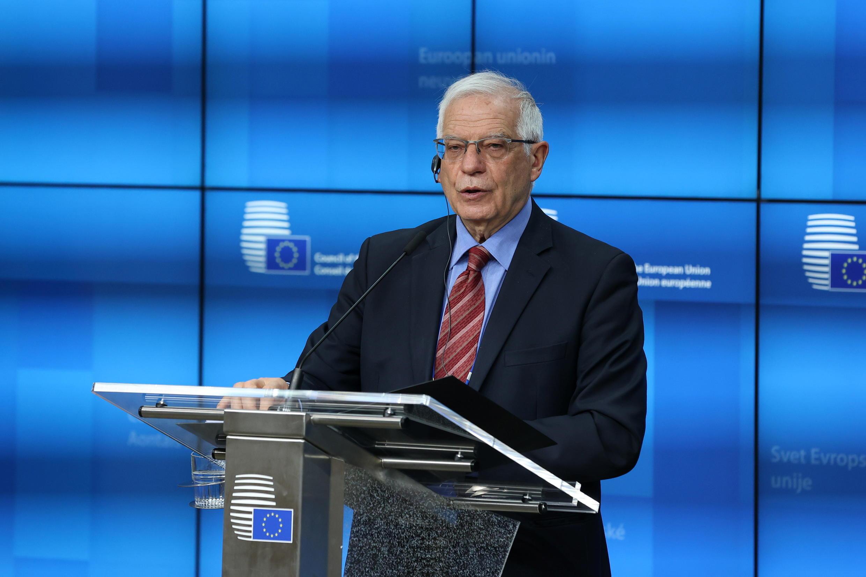 El ministro de Asuntos Exteriores europeo, Josep Borrell, en una rueda de prensa el 22 de marzo de 2021 en Bruselas, Bélgica.