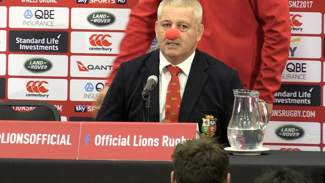 Warren Gatland wore a red nose during the 2017 British and Irish Lions tour, after New Zealand media depicted him as a clown