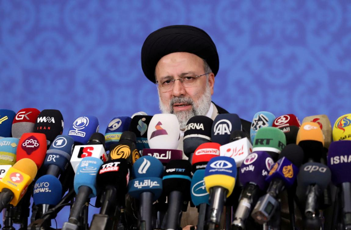 Iran's President-elect Ebrahim Raisi speaks during a press conference in Tehran, Iran, on June 21, 2021.