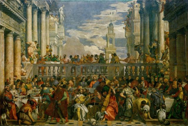 """Veronese's """"The Wedding Feast at Cana"""" (1563), taken from the island of San Giorgio Maggiore in Venice and still hanging prominently in the Louvre today."""