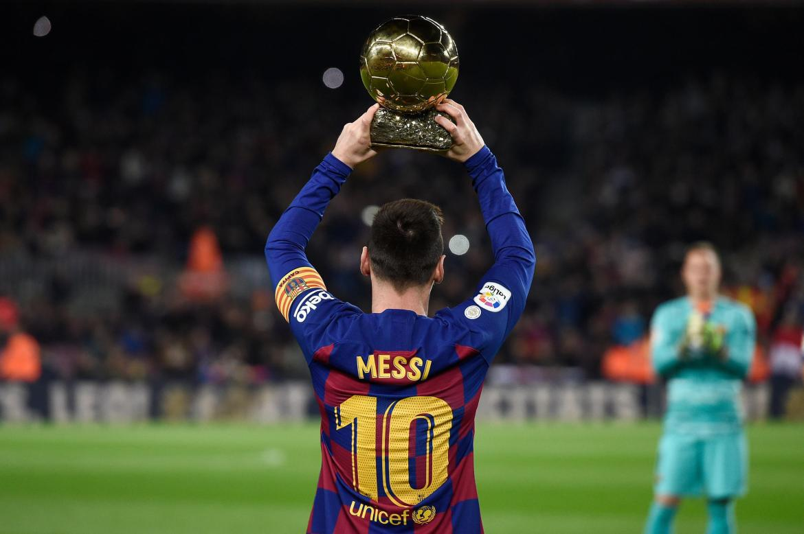 Lionel Messi during the presentation of his sixth Golden Ball at Camp Nou.