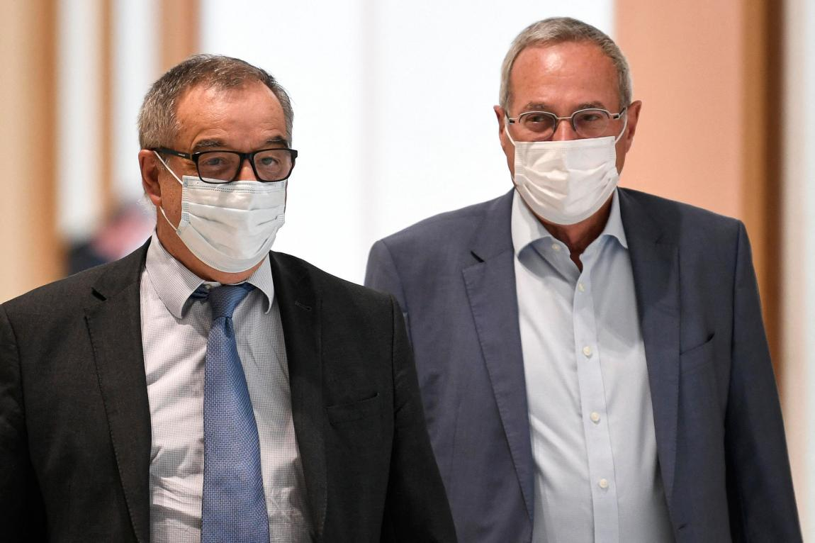 Philippe Blanchetier (left), lawyer for the presidential campaign of former French President Nicolas Sarkozy in 2012, arrives at a hearing in the trial of the so-called Bygmalion case, in which former President Nicolas Sarkozy is accused of illicit financing for his failed reelection campaign in 2012, in Paris, on June 9, 2021.