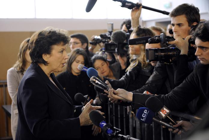 Former Minister of Health Roselyne Bachelot speaks to the press after being vaccinated against the H1N1 flu on November 12, 2009.
