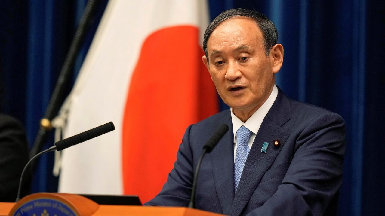 Japanese Prime Minister Yoshihide Suga speaks during a press conference announcing the extension of the state of emergency due to the Covid-19 pandemic in Tokyo, Japan, on August 17, 2021.