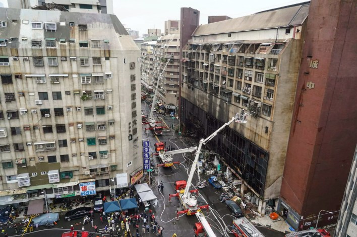 The city's fire department said it sent more than 70 trucks to tackle the blaze
