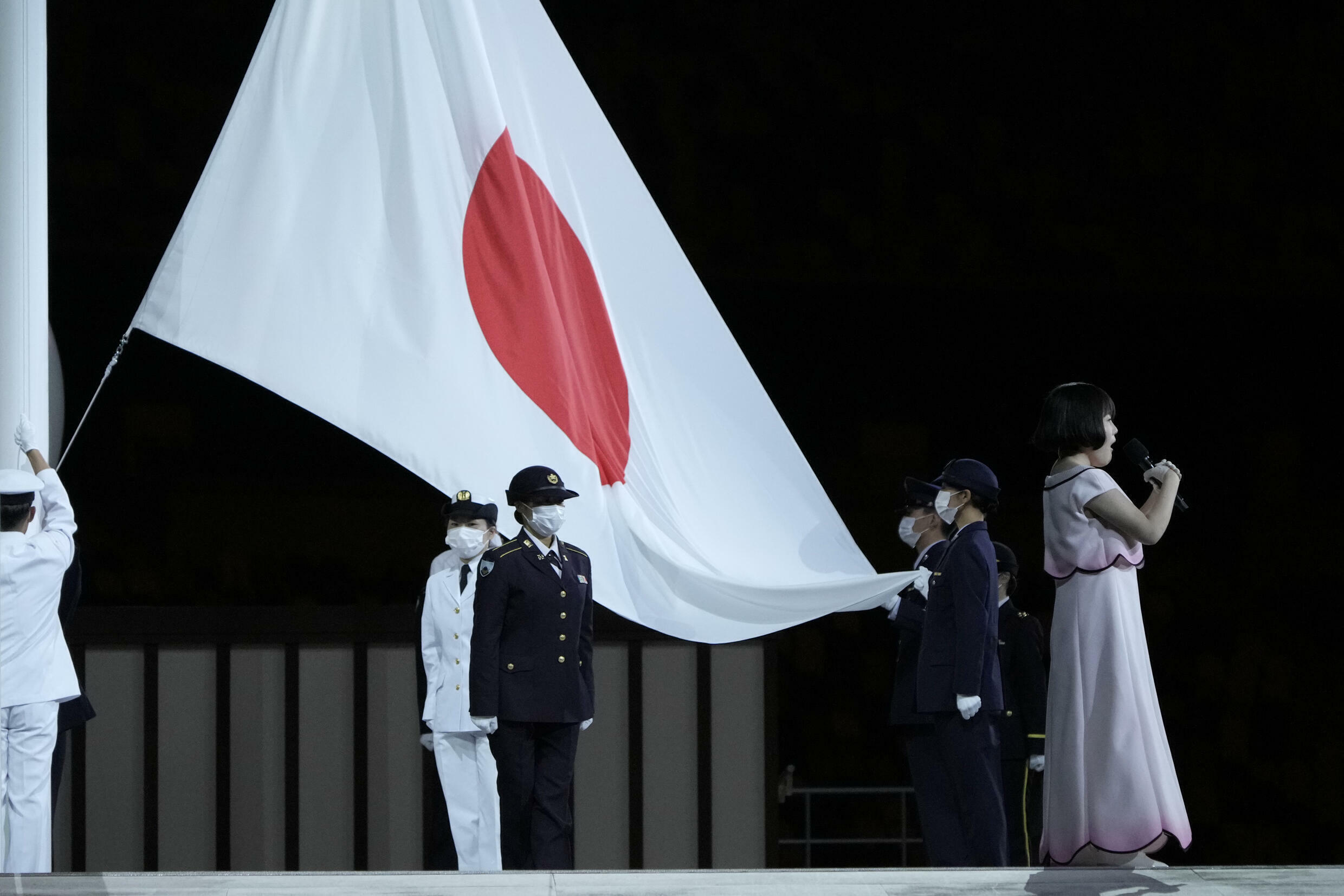 The Japanese flag, during the opening ceremony of the Paralympic Games in Tokyo, Japan, on August 24, 2021