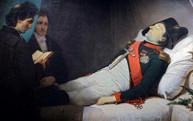 A picture taken on April 7, 2021, shows a painting made in 1843 by French artist Jean-Baptiste Mauzaisse depicting French Emperor Napoleon I on his death bed, and exhibited at the Army museum at the Hotel des Invalides, in Paris.