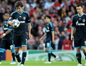 Raul e o time do Schalke contra o Manchester United (Foto: Getty Images)