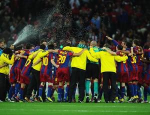 jogadores barcelona comemoram título liga dos campeões (Foto: agência Getty Images)