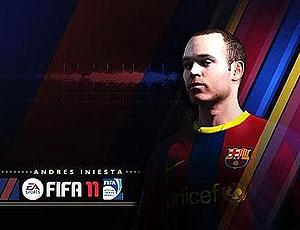 Iniesta na capa do jogo FIFA 2011
