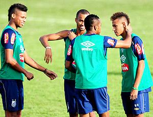 André, robinho, neymar e wesley santos treino