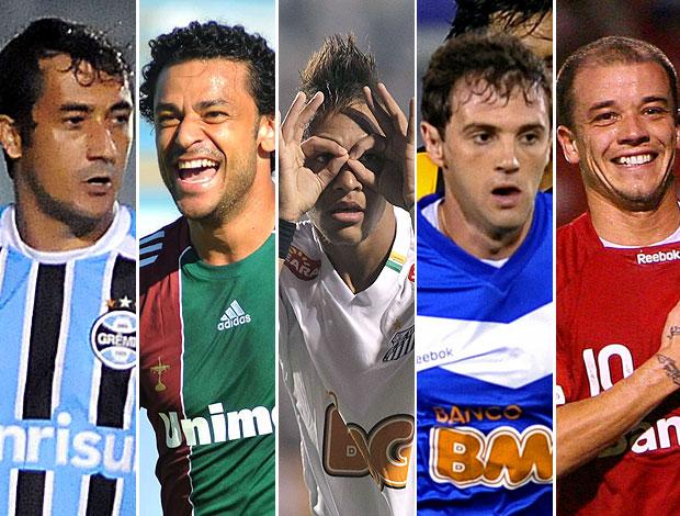montagem jogadores Libertadores Douglas Fred Neymar Montillo D´Alessandro (Foto: Editoria de Arte / GLOBOESPORTE.COM)