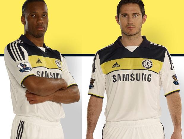 Novos uniformes do Chelsea (Foto  Divulgação) Drogba ... 8327f558a2723