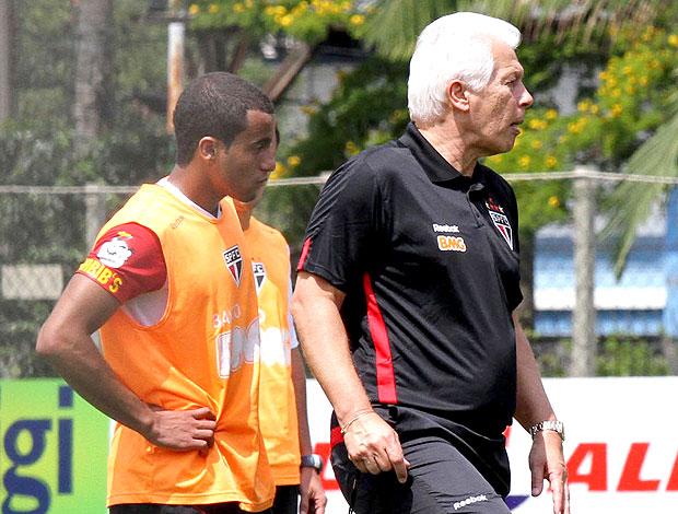 Lucas e Leão no treino do São Paulo  (Foto: João Neto / VIPCOMM)