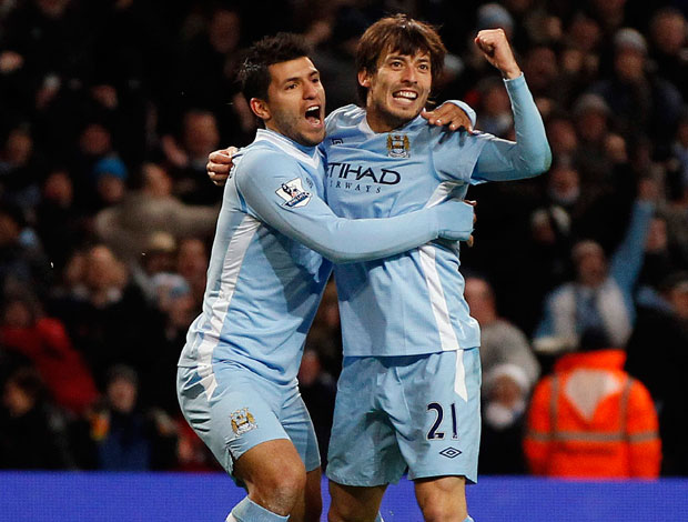 david silva aguero manchester city gol arsenal (Foto: Agência Reuters)