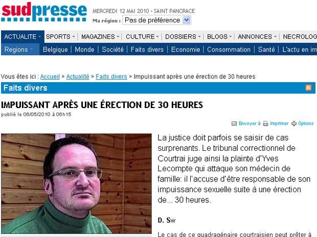 Yves Lecompte teve uma ereção de 34 horas.
