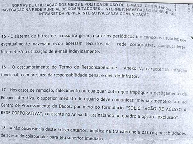 Trecho de documento obtido pelo G1 sobre controle de informações das empresas contratadas pela  campanha de Dilma Rousseff (Foto: G1/Reprodução)
