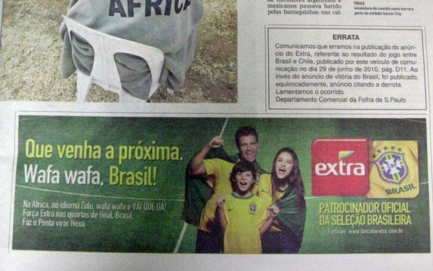 Anúncio públicado na página D21 do jornal Folha de S. Paulo nesta quarta-feira (30)