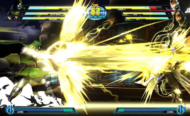 Dr. Destino ataca Chun-Li em confronto do game 'Marvel vs. Capcom 3'.