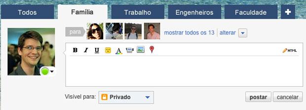 Orkut apresenta ciclos de amizades para o usuário.