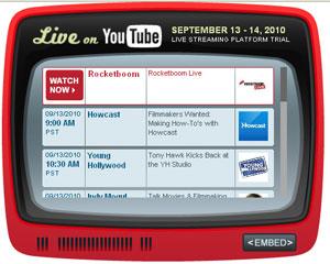 Programação do YouTube para dois dias de testes da plataforma de streaming ao vivo.