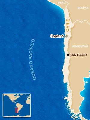 Mapa localiza Copiapó, no Chile.