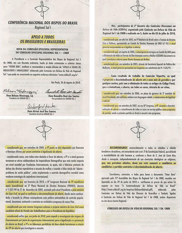 Panfleto contra Dilma com texto do Regional Sul I da CNBB.