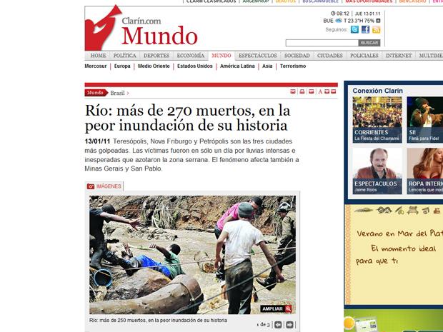 O jornal argentino 'Clarín' afirmava que a tragédia é a pior do gênero no Rio, e também lembrava que as enchetes afetaram o país nos verões passados.