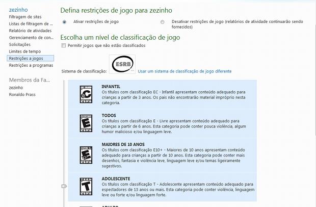 Classificação de games que podem ser autorizados ao usuário (Foto: Reprodução)